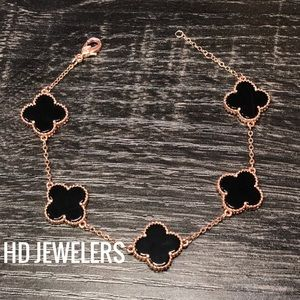 Jewelry - Black S925 Silver Rose Gold Five Clover Bracelet